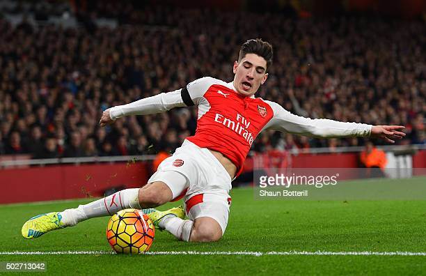 Hector Bellerin of Arsenal in action during the Barclays Premier League match between Arsenal and AFC Bournemouth at Emirates Stadium on December 28...