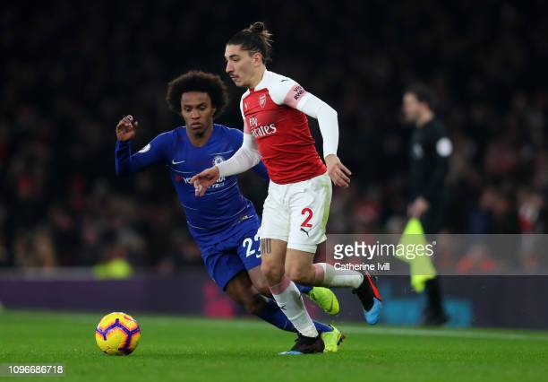 Hector Bellerin of Arsenal in action during the Premier League match between Arsenal FC and Chelsea FC at Emirates Stadium on January 19 2019 in...