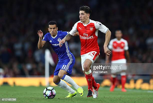 Hector Bellerin of Arsenal in action during the Premier League match between Arsenal and Chelsea at the Emirates Stadium on September 24 2016 in...