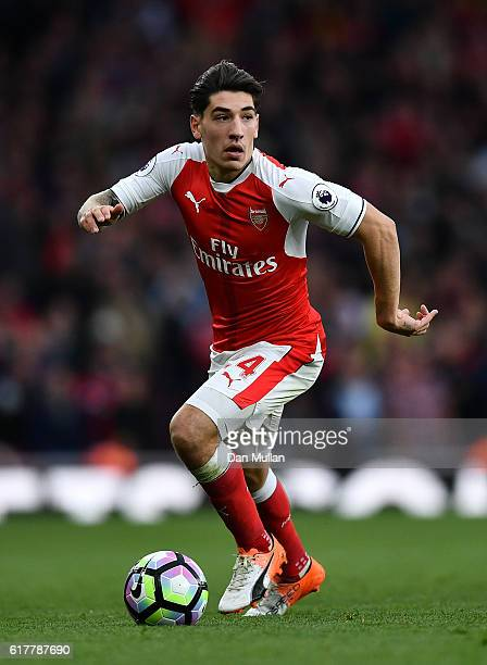 Hector Bellerin of Arsenal in action during the Premier League match between Arsenal and Middlesbrough at The Emirates Stadium on October 22 2016 in...