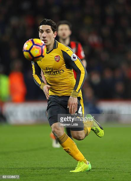 Hector Bellerin of Arsenal in action during the Premier League match between AFC Bournemouth and Arsenal at Vitality Stadium on January 3 2017 in...