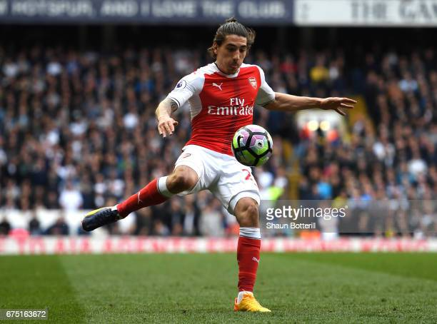 Hector Bellerin of Arsenal in action during the Premier League match between Tottenham Hotspur and Arsenal at White Hart Lane on April 30 2017 in...