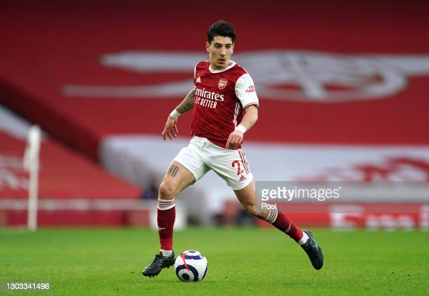 Hector Bellerin of Arsenal in possession during the Premier League match between Arsenal and Manchester City at Emirates Stadium on February 21, 2021...