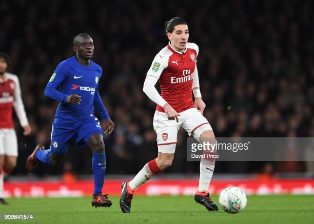 Hector Bellerin of Arsenal is closed down by N'Golo Kante of Chelsea during the match between Arsenal and Chelsea at Stamford Bridge on January 24...