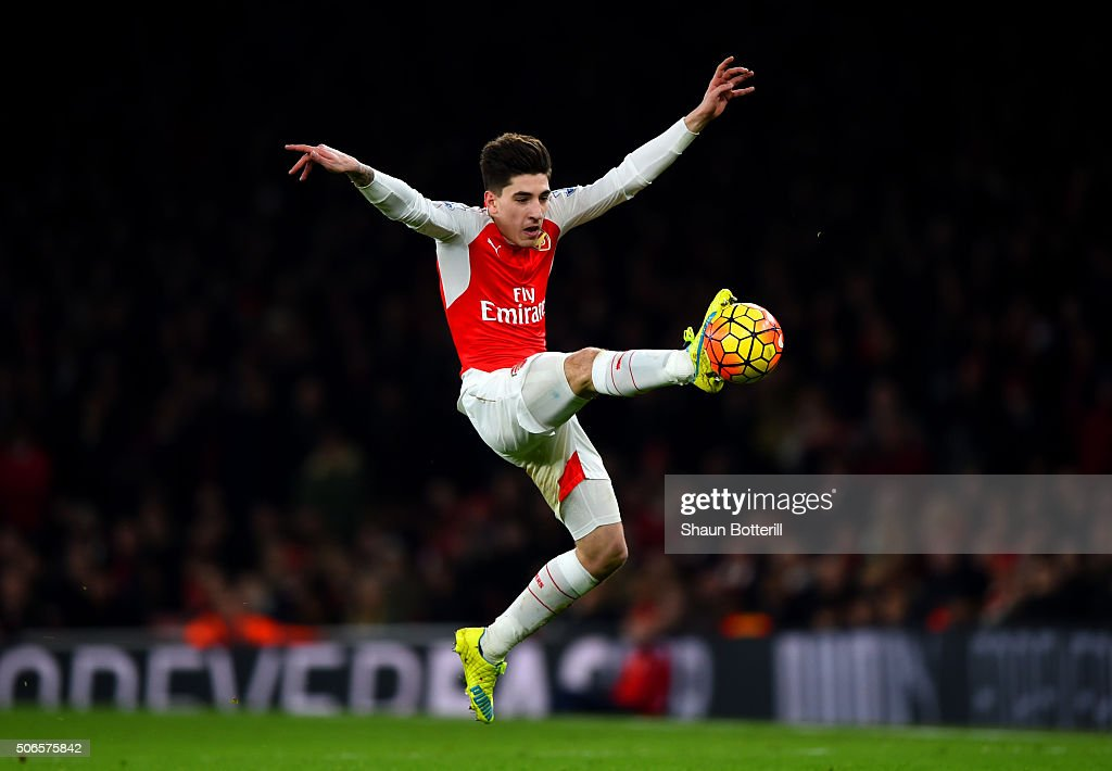 Hector Bellerin of Arsenal leaps to control the ball during the Barclays Premier League match between Arsenal and Chelsea at Emirates Stadium on January 24, 2016 in London, England.