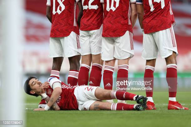 Hector Bellerin of Arsenal lies behind the Arsenal defensive wall during the UEFA Europa League Semi-final Second Leg match between Arsenal and...