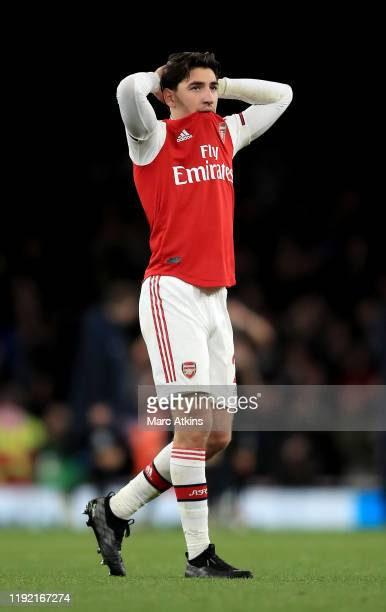 Hector Bellerin of Arsenal looks dejected after loosing the Premier League match between Arsenal FC and Brighton Hove Albion at Emirates Stadium on...