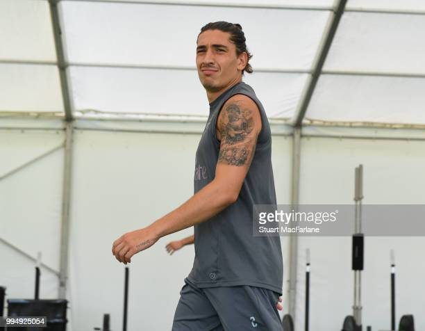 Hector Bellerin of Arsenal looks on during a training session at London Colney on July 9 2018 in St Albans England