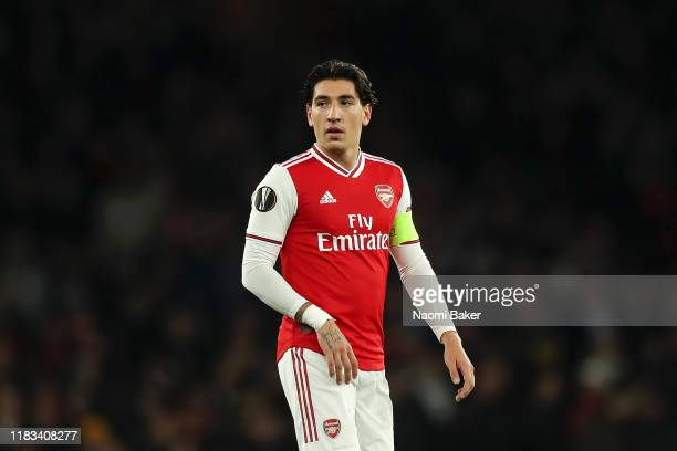 Hector Bellerin of Arsenal looks on during the UEFA Europa League group F match between Arsenal FC and Vitoria Guimaraes at Emirates Stadium on...