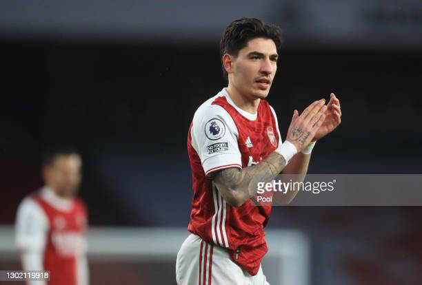 Hector Bellerin of Arsenal reacts during the Premier League match between Arsenal and Leeds United at Emirates Stadium on February 14, 2021 in...