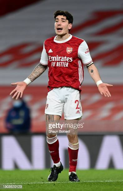 Hector Bellerin of Arsenal reacts during the Premier League match between Arsenal and Manchester City at Emirates Stadium on February 21, 2021 in...