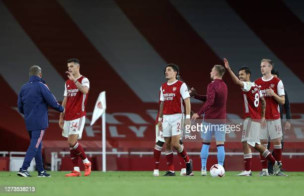 Hector Bellerin of Arsenal reacts following the Premier League match between Arsenal and West Ham United at Emirates Stadium on September 19 2020 in...