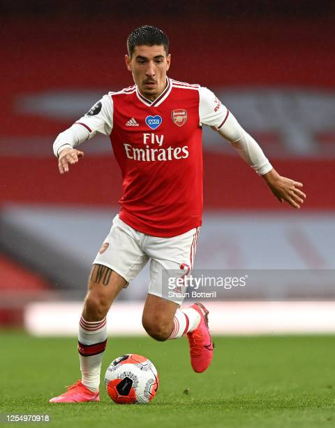 Hector Bellerin of Arsenal runs with the ball during the Premier League match between Arsenal FC and Leicester City at Emirates Stadium on July 07...