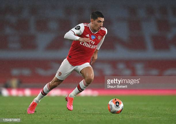 Hector Bellerin of Arsenal runs with the ball during the Premier League match between Arsenal FC and Leicester City at Emirates Stadium on July 07,...