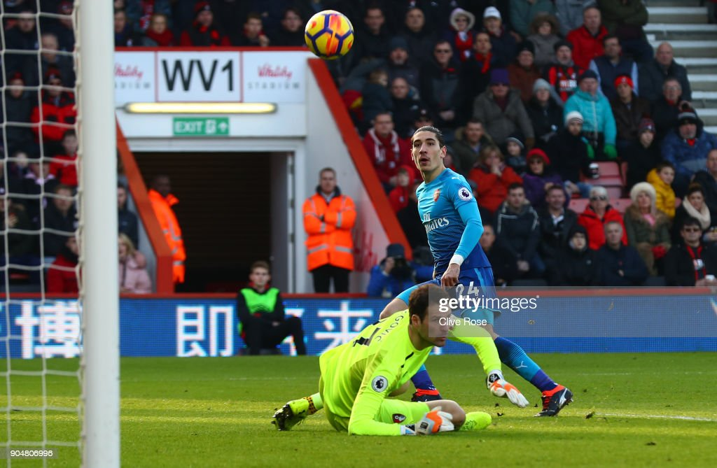Hector Bellerin of Arsenal scores his sides first goal past Asmir Begovic of AFC Bournemouth during the Premier League match between AFC Bournemouth and Arsenal at Vitality Stadium on January 14, 2018 in Bournemouth, England.