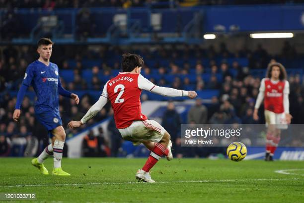 Hector Bellerin of Arsenal scores his team's second goal during the Premier League match between Chelsea FC and Arsenal FC at Stamford Bridge on...