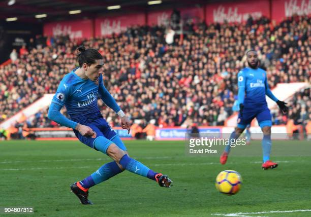 Hector Bellerin of Arsenal scores the opening goal during the Premier League match between AFC Bournemouth and Arsenal at Vitality Stadium on January...