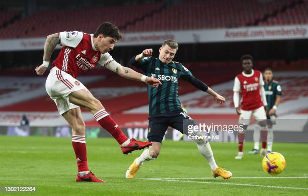 Hector Bellerin of Arsenal scores their side's third goal during the Premier League match between Arsenal and Leeds United at Emirates Stadium on...