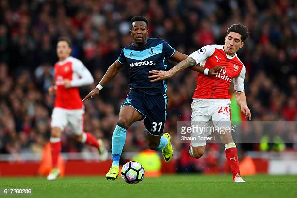 Hector Bellerin of Arsenal tackles Adama Traore of Middlesbrough during the Premier League match between Arsenal and Middlesbrough at the Emirates...