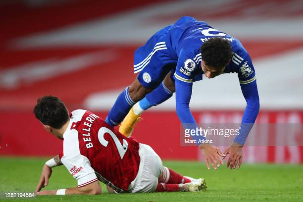 Hector Bellerin of Arsenal tackles James Justin of Leicester City during the Premier League match between Arsenal and Leicester City at Emirates...