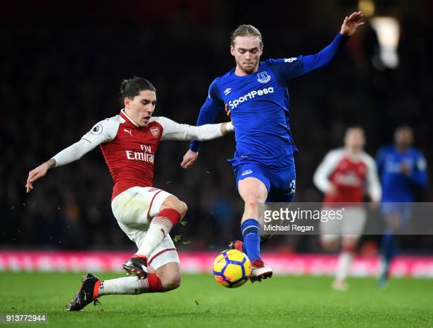 Hector Bellerin of Arsenal tackles Tom Davies of Everton during the Premier League match between Arsenal and Everton at Emirates Stadium on February...