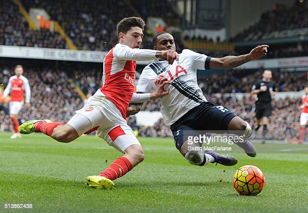 Hector Bellerin of Arsenal takes on Danny Rose of Tottenham during the Barclays Premier League match between Tottenham Hotspur and Arsenal at White...