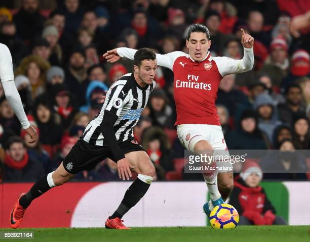 Hector Bellerin of Arsenal takes on Javier Manquillo of Newcastle during the Premier League match between Arsenal and Newcastle United at Emirates...