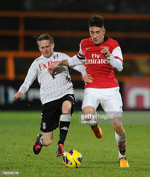 Hector Bellerin of Arsenal takes on Lyle Della Verde of Fulham during the FA Youth Cup 4th Round match between Arsenal and Fulham at Underhill...