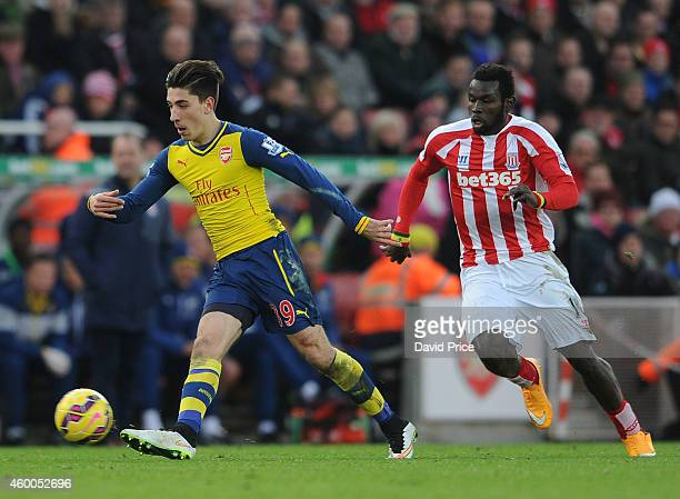 Hector Bellerin of Arsenal takes on Mame Diouf of Stoke during the match between Stoke City and Arsenal in the Barclays Premier League at Britannia...