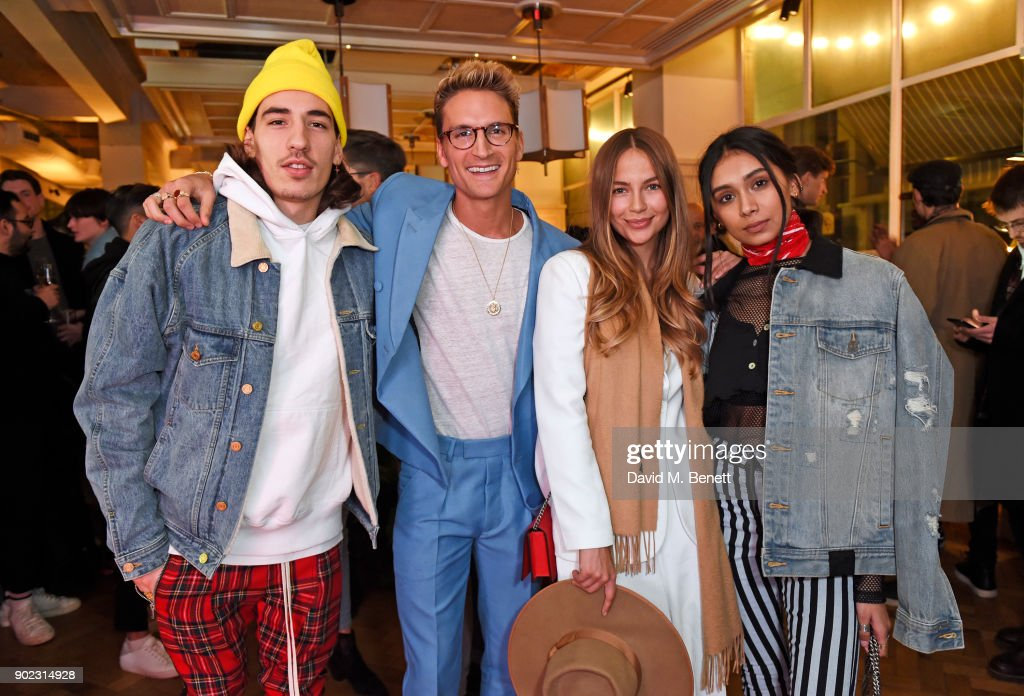 Hector Bellerin, Oliver Proudlock, Emma Louise Connolly and Shree Patel attend the Topman LFWM party at Mortimer House on January 7, 2018 in London, England.