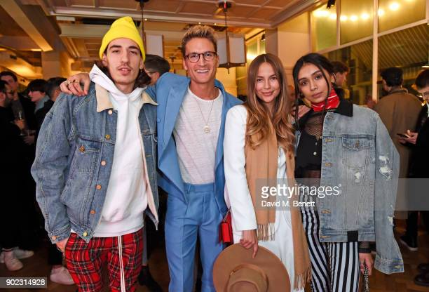 Hector Bellerin Oliver Proudlock Emma Louise Connolly and Shree Patel attend the Topman LFWM party at Mortimer House on January 7 2018 in London...
