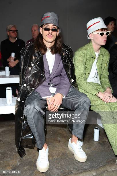 Hector Bellerin on the front row during the Christopher Raeburn at London Fashion Week Men's AW19 show held at the BFC Show Space London