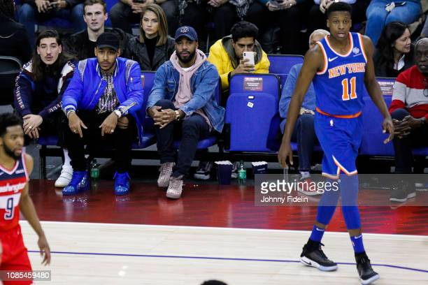 Hector Bellerin Pierre Emerick Aubameyang and Alexandre Lacazette players of Arsenal during the NBA game against Washington Wizards and New York...
