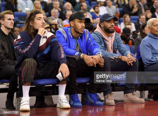 Hector Bellerin, Pierre-Emerick Aubameyang and Alexandre Lacazette attend the Washington Wizards vs New York Knicks game at The O2 Arena on January...