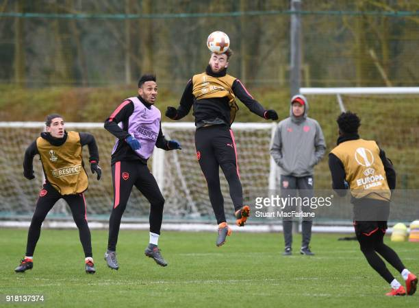 Hector Bellerin PierreEmerick Aubameyang Calyum Chambers and Ainsley MaitlandNiles of Arsenal during a training session at London Colney on February...
