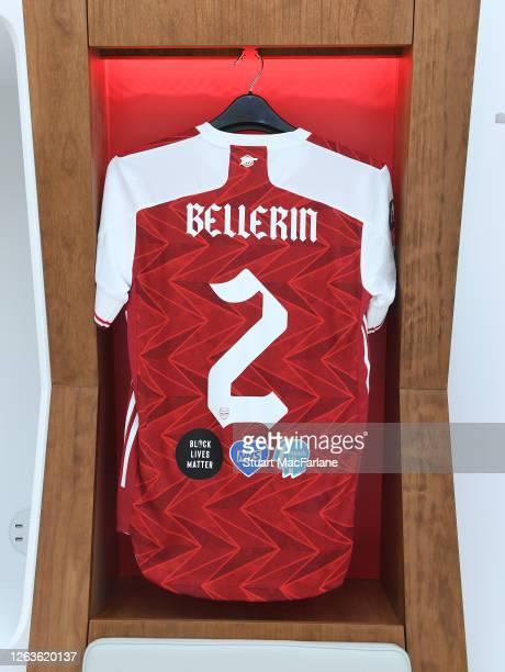 Hector Bellerin shirt in the Arsenal changing room before the FA Cup Final match between Arsenal and Chelsea at Wembley Stadium on August 01 2020 in...