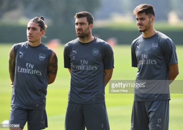 Hector Bellerin Sokratis Papastathopoulos and Konstantinos Mavropanos of Arsenal during preseason training session at London Colney on July 5 2018 in...
