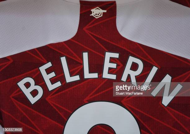 Hector Bellerin's shirt hangs in the Arsenal changing room before the Premier League match between Arsenal and Manchester City at Emirates Stadium on...