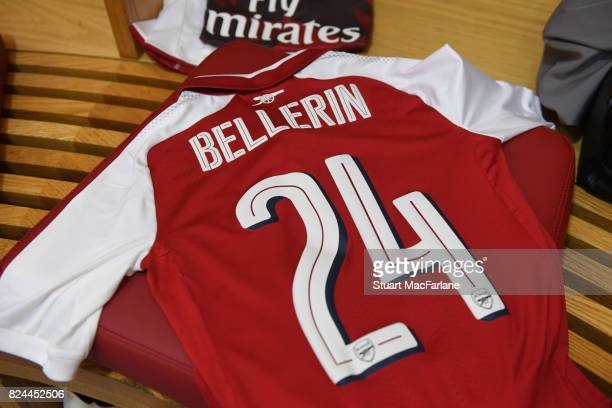 Hector Bellerin's shirt in the Arsenal changing room before the Emirates Cup match between Arsenal and Seville at Emirates Stadium on July 30 2017 in...