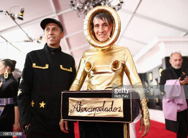 Hector Buitrado and Andrea Echeverry from Colombian rock band Aterciopelados attend the 61st Annual GRAMMY Awards at Staples Center on February 10...