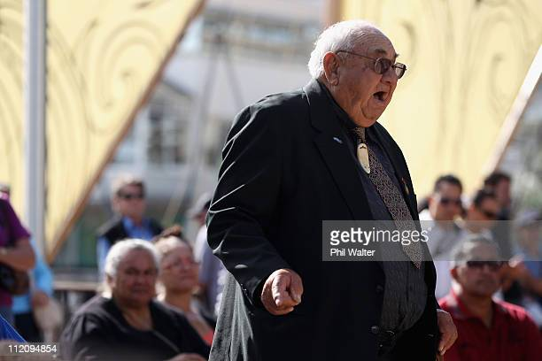 Hector Busby speaks before the ceremonial departure of the 'vaka' or traditional canoes ahead of their crossPacific voyage from Viaduct Harbour on...