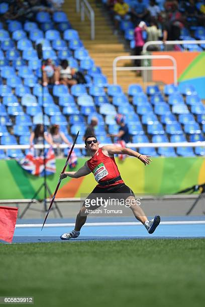 Hector Cabrera Llacer of Spain competes in the Men's Javelin Throw F13 on day 7 of the Rio 2016 Paralympic Games at the Olympic Stadium on September...
