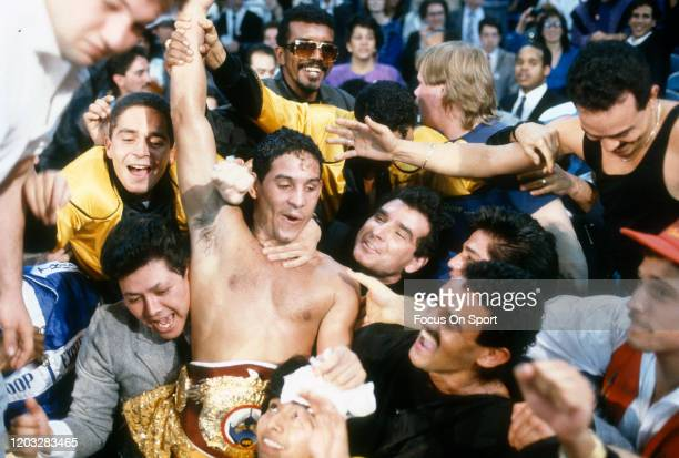 Hector Camacho celebrates after he defeated Ray Mancini for the WBO light welterweight title on March 6 1989 at the Lawlor Events Center in Reno...