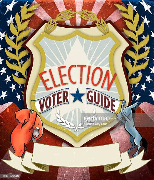 Hector Casanova color illustration for an election voter guide that includes a Republican elephant and a Democrat donkey holding up a sheild saying...