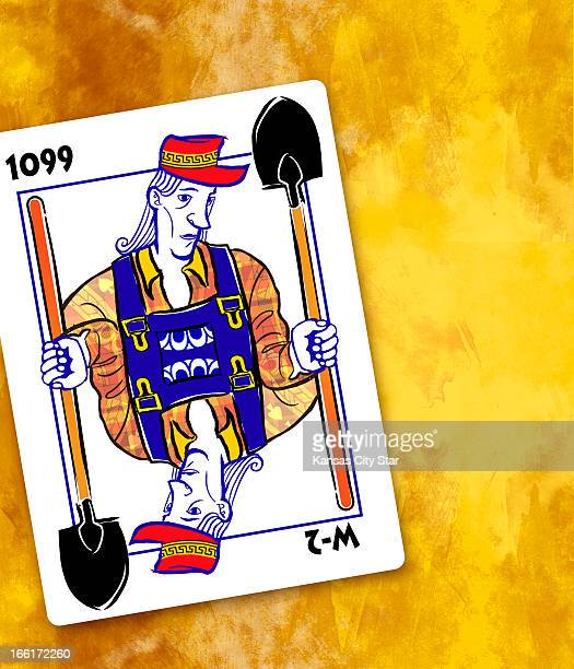 Hector Casanova color illustration of a playing card showing two workers one an employee and one an independent contractor can be used with stories...