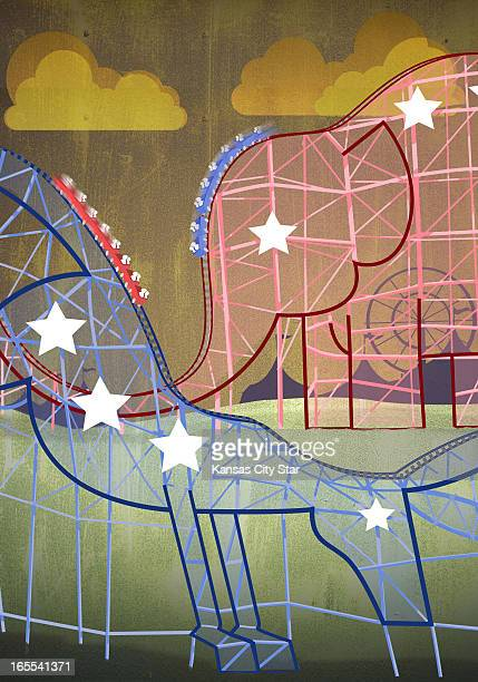 Hector Casanova color illustration of donkey and elephant rollercoasters carrying riders to a freefall