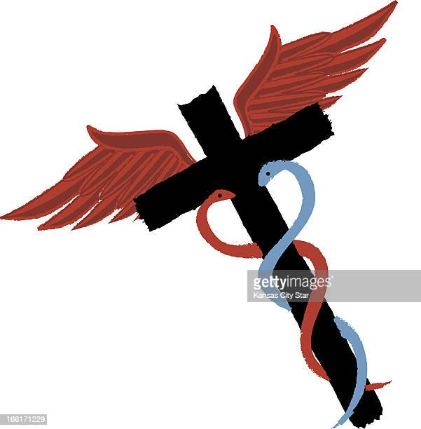 Hector Casanova color illustration of medical caduceus with two serpents coiled around a cross can be used with stories about religious beliefs and...