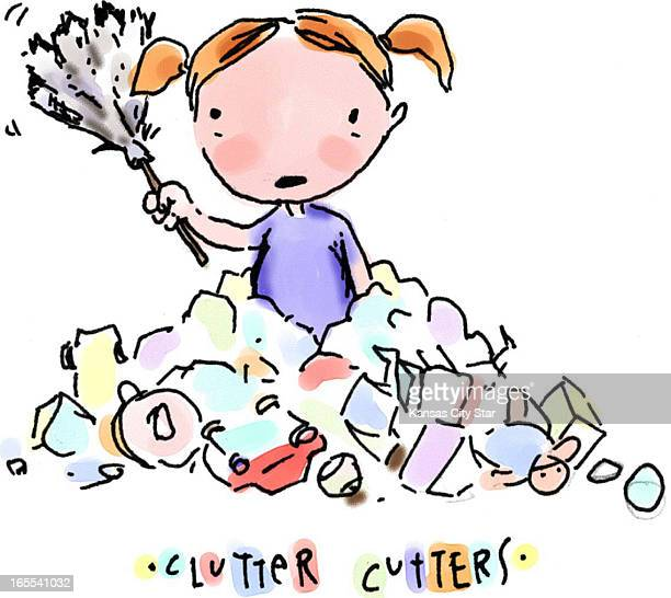 Hector Casanova color illustration of young girl holding feather duster while standing in a pile of stuff titled 'Clutter Cutter'