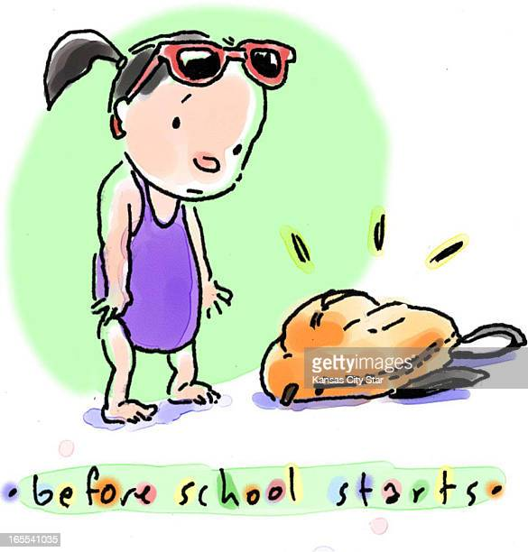Hector Casanova color illustration of young girl in bathing suit looking at unopened school backpack titled 'Before school starts'