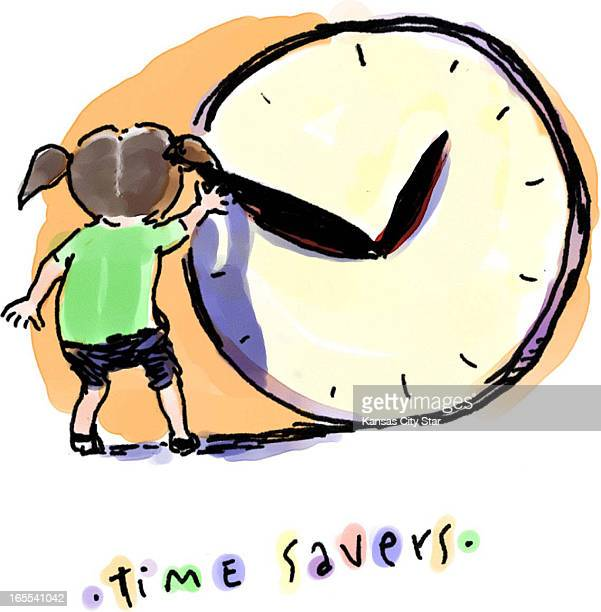 Hector Casanova color illustration of young girl pulling back the hand of large clock titled 'Time Savers'
